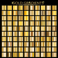 Set of gold gradients. Metallic squares collection,Vector illustration.