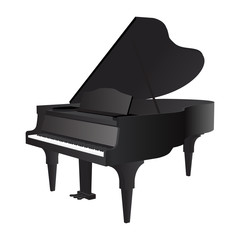 Piano, isolated on white background. Vector illustration, EPS 10