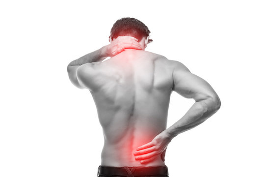 Close up of man rubbing his painful back. Pain relief, chiropractic concept