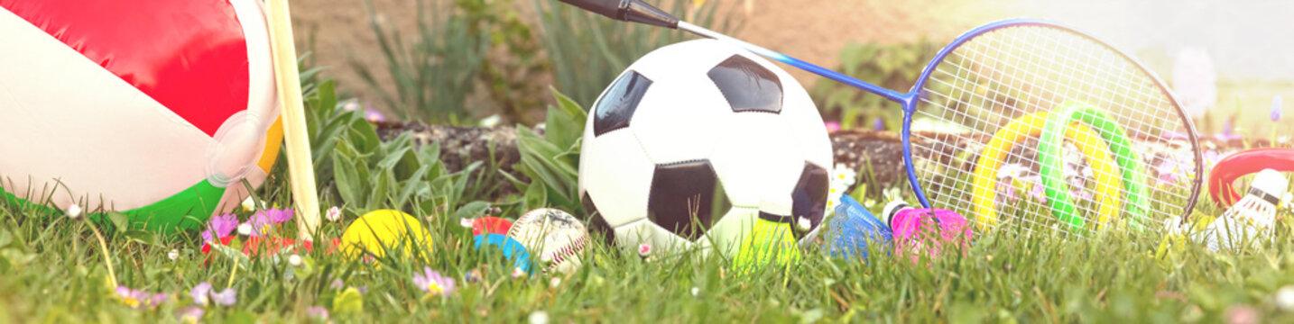 panorama mit sommer outdoor spielzeug