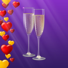 Glasses of champagne with rays of light on background. Champagne with bubbles in a wineglass, yellow and red hearts like Inflatable balloons dark on background with rays, 3D illustration