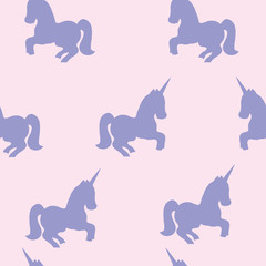 Seamless pattern with unicorns. Vector picture.