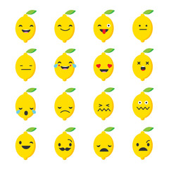 Emotions Lemon. Vector style smile icons.