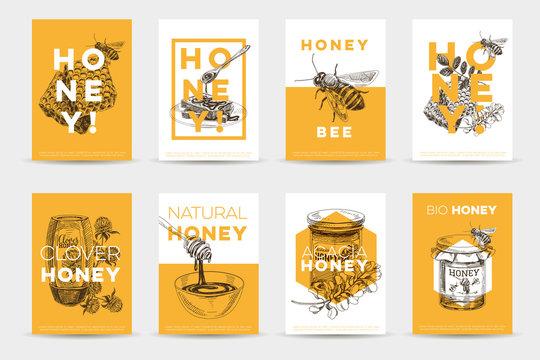 Vector hand drawn honey Illustration.