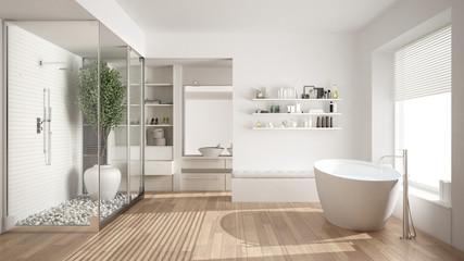 Minimalist white scandinavian bathroom with walk-in closet, classic scandinavian interior design
