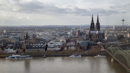 Poster Northern Europe view on historical center of Cologne Cathedral from Rhine river