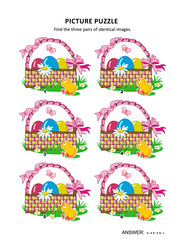 Easter themed visual puzzle with baskets, painted eggs, chicks, fresh green grass, flowers and butterflies: Find the three pairs of identical images. Answer included.