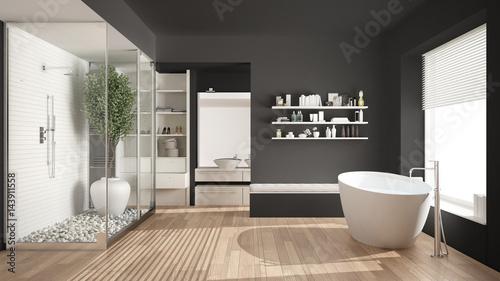Minimalist Gray Scandinavian Bathroom With Walk In Closet Classic Interior Design