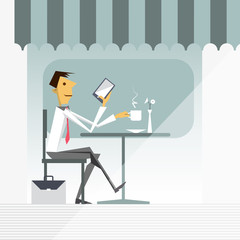 Illustration vector of cartoon businessman drinking hot coffee, relaxing and playing smart phone at coffee shop
