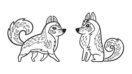 Outline Siberian Husky dog