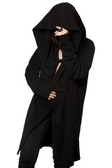 A girl in a black gown under a hood. Street fashion, gothic, hip-hop
