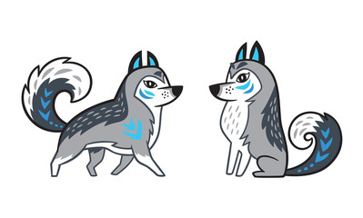 Outline Siberian Husky Dog Buy This Stock Vector And Explore