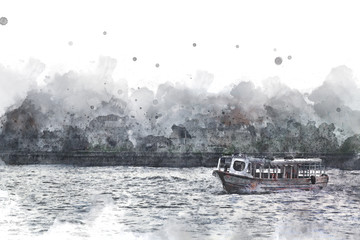 Long boat crossing in Bangkok, Long boat on watercolor paining background.