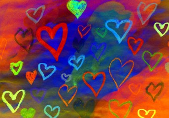 Colorful abstract love hearts romantic picture image background
