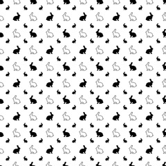 Black-and-White Vector Seamless Pattern Background of Rabbit Silhouettes