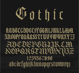 medieval gothic font with capitals, lowercase and small caps and numbers alternatives