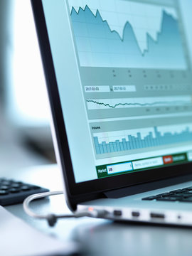 Share price data from investor's portfolio on a laptop computer screen