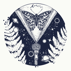 Universe and butterfly tattoo art. Symbol of esoterics, mysticism, astrology, dream. Surreal Universe, planet and star t-shirt design