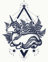 Unicorn tattoo art. Symbol of fantasy, dreams, souls. Beautiful unicorn in a triangle t-shirt design