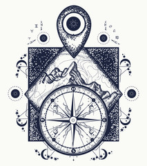 Mountain, map pointer and compass tattoo Adventure, travel, outdoors, symbol. Compass, mountains boho style, t-shirt design