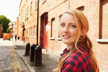 Woman in street, London, UK