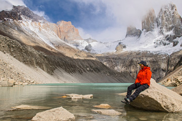 Female hiker at Torres del Paine National Park, Patagonia, Chile