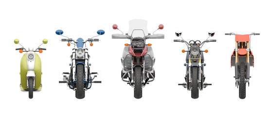 group motorcycles front view 3d rendering