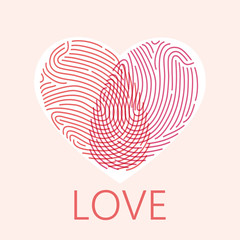 Fingerprint heart romantic background