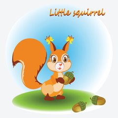 Little Squirrel and acorns. Zoo. A child's drawing. Nature. Cartoon characters. Design for children's textiles, pattern, emblems, book and background image.