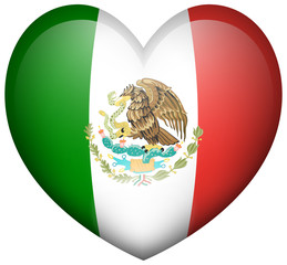 Mexico flag in heart shape