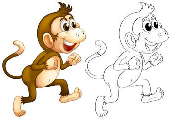 Animal outline for monkey walking