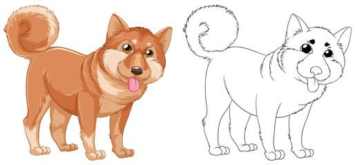 Animal outline for shiba dog