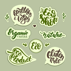 Vector set of stickers. Hand drawn Eco logos. Cool stylish labels for your natural product, stores, etc.