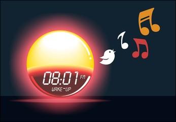 Alarm clock sunrise shining & bird singing timer gadget illustration. Easy waking device