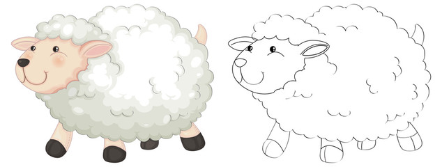 Doodle animal for fluffy sheep