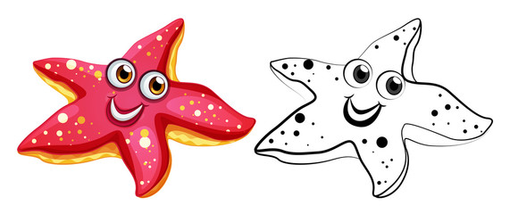 Animal outline for starfish with happy face