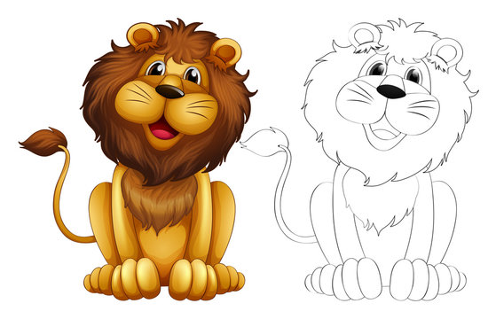 Animal outline for wild lion