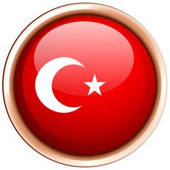 Turkey flag on round badge