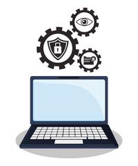 cyber security technology data gear work vector illustration eps 10