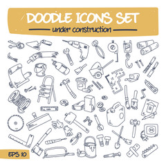 Doodle Icons Set - Under Construction. Sketch Sign Illustration on Paper of Hand Drawn Tools. Hand Drawing Line Icons for Web, App, Mobile, Business, Finance, Technology, Time and Education. .