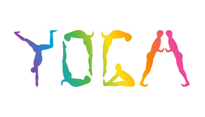Silhouettes in yoga poses spelling out YOGA
