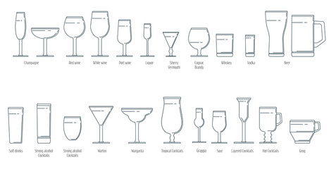 Set of wine glasses in a linear style
