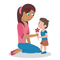 mom her son flower lovely vector illustration eps 10