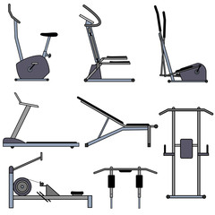 Set outline icons equipment for gym and fitness. Sports training apparatus. Mechanical and electrical, elliptical and power exercise equipment. Vector drawing. Isolated illustrations in flat style.