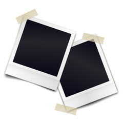Two retro photorealistic photo frame sticked on duct tape to white background. Template for design. Vector illustration.