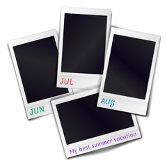 Composition of four blank vintage photo frames on white background. Template for design summer vacation. Vector illustration.