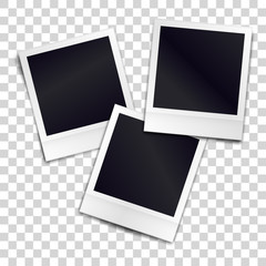 Three photorealistic blank retro photo frames over transparent background. Vector illustration.