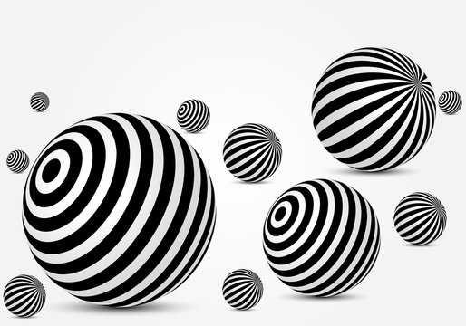 Black and white striped balls