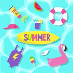 Summer set: pool party / Flat editable vector clip art