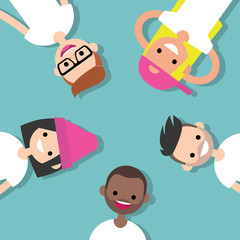 Top view of the group of millennials lying on the floor / flat editable vector illustration, clip art